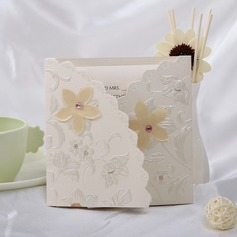 Floral Style Tri-Fold Invitation Cards (Set of 10) (114032361)