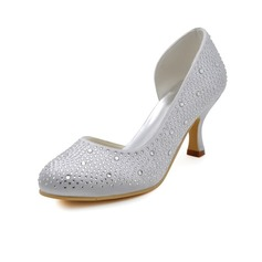 Women's Satin Spool Heel Closed Toe Pumps With Sequin