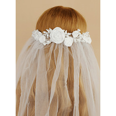 One-tier Cut Edge Fingertip Bridal Veils With Satin Flower/Faux Pearl (006221264)