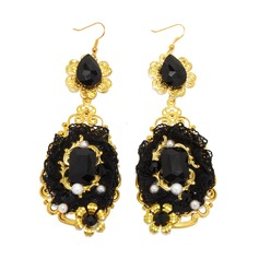 Sexy Alloy Lace With Imitation Pearl Rhinestone Women's Fashion Earrings