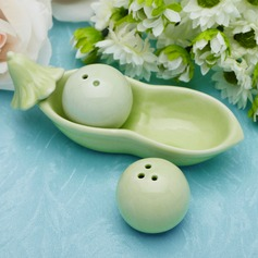 """Two Peas In A Pod"" Ceramic Salt & Pepper Shakers With Ribbons  (051005715)"