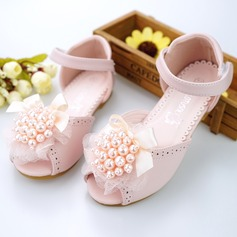 Girl's Peep Toe Microfiber Leather Flat Heel Sandals Flower Girl Shoes With Beading Bowknot Velcro