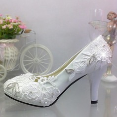 Women's Patent Leather Stiletto Heel Closed Toe Pumps With Rhinestone Stitching Lace Applique (047121452)
