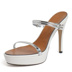 Women's Patent Leather PU Stiletto Heel Sandals Pumps Platform shoes