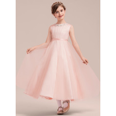 A-Line/Princess Ankle-length Flower Girl Dress - Satin/Tulle Sleeveless Scoop Neck With Beading/Bow(s)