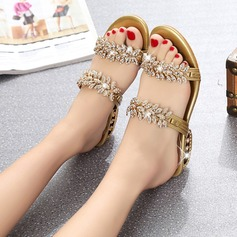 Women's PU Chunky Heel Sandals With Rhinestone shoes