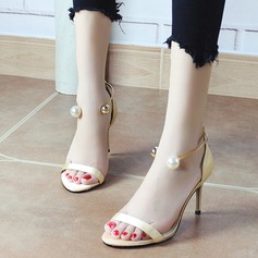 Women's Silk Like Satin Stiletto Heel Peep Toe Pumps Sandals With Buckle Imitation Pearl (047129722)