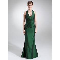 Trumpet/Mermaid Halter Floor-Length Taffeta Bridesmaid Dress With Ruffle