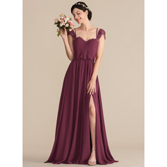 A-Line/Princess Sweetheart Floor-Length Chiffon Bridesmaid Dress With Lace Split Front (007165838)