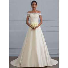 Ball-Gown Off-the-Shoulder Sweep Train Satin Wedding Dress