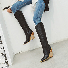 Women's Microfiber Leather Cone Heel Boots Knee High Boots With Zipper shoes