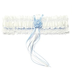 Delicate Satin Lace With Ribbons Flower Wedding Garters (104019302)