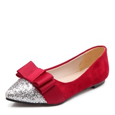 Women's Leatherette Flat Heel Flats With Bowknot Sequin shoes