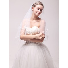 One-tier Cut Edge Fingertip Bridal Veils With Embroidery (006106810)