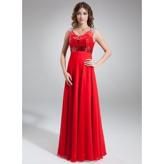 A-Line/Princess Scoop Neck Floor-Length Chiffon Sequined Prom Dress With Ruffle Beading