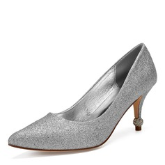 Vrouwen Sprankelende Glitter Stiletto Heel Closed Toe Pumps met Strass Lovertje Sprankelende Glitter