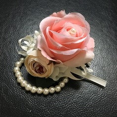 Round Imitation Pearl Wrist Corsage (Sold in a single piece) -
