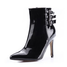 Women's Patent Leather Stiletto Heel Ankle Boots With Buckle shoes (088036351)