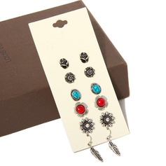 Charmant Alliage Dames Boucles d'oreille de mode (Ensemble de 5 paires)