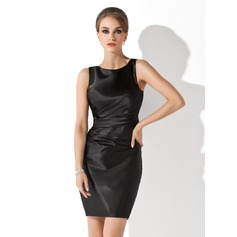 Sheath/Column Scoop Neck Short/Mini Charmeuse Mother of the Bride Dress