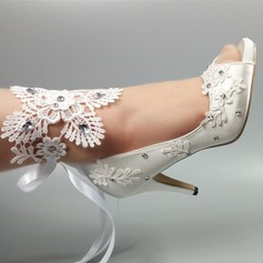 Women's Satin Stiletto Heel Peep Toe Pumps With Imitation Pearl Rhinestone Stitching Lace Flower Tassel Braided Strap