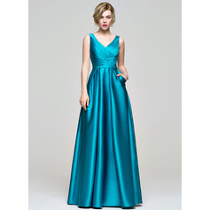 A-Line/Princess V-neck Floor-Length Satin Bridesmaid Dress With Ruffle (007074189)