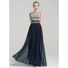 A-Line/Princess Scoop Neck Floor-Length Chiffon Evening Dress (017110479)