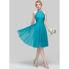 A-Line Scoop Neck Knee-Length Tulle Bridesmaid Dress With Ruffle