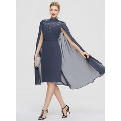 Sheath/Column High Neck Knee-Length Chiffon Cocktail Dress With Ruffle