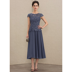 A-Line Scoop Neck Tea-Length Chiffon Lace Mother of the Bride Dress (008179205)