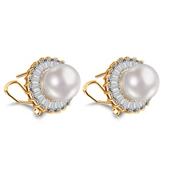 Charming Copper/Zircon With Pearl Ladies' Earrings