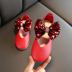 Pigens Round Toe Lukket Tå Leatherette Wedge Heel Fladsko Flower Girl Shoes med Bowknot Velcro