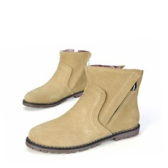Women's Real Leather Flat Heel Boots Ankle Boots With Split Joint shoes