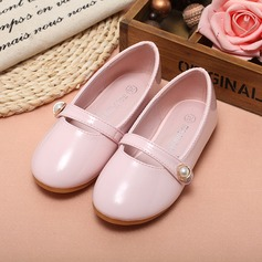 Girl's Closed Toe Leatherette Flat Heel Flats Flower Girl Shoes With Imitation Pearl (207095544)