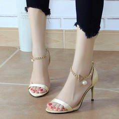 Women's Silk Like Satin Stiletto Heel Peep Toe Pumps Sandals With Buckle Imitation Pearl Chain