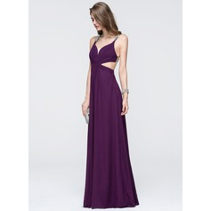 A-Line/Princess V-neck Floor-Length Chiffon Prom Dress With Ruffle Beading (018093843)