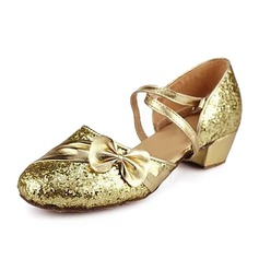 Kids' Sparkling Glitter Sandals Ballroom With Bowknot Dance Shoes
