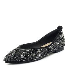 Donna Glitter scintillanti Senza tacco Ballerine Punta chiusa con Paillette scarpe