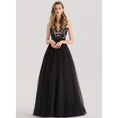 Ball-Gown V-neck Sweep Train Tulle Prom Dresses With Beading Sequins