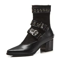 Women's Leatherette Chunky Heel Boots Ankle Boots With Rivet Buckle shoes