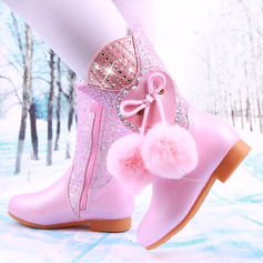 Girl's Mid-Calf Boots Leatherette Flower Girl Shoes With Flower pompom