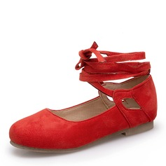 Women's Suede Flat Heel Flats Closed Toe Mary Jane With Lace-up shoes
