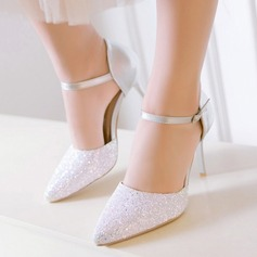 Women's Suede Stiletto Heel Pumps Closed Toe With Sparkling Glitter Buckle shoes (085124724)