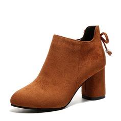 Donna Camoscio Tacco spesso Stiletto Stivali Stivali alla caviglia con Bowknot scarpe