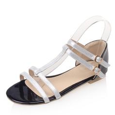 Kvinner Patentert Lær Flat Hæl Sandaler Flate sko med Spenne sko