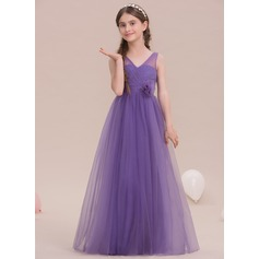 A-Line/Princess V-neck Floor-Length Tulle Junior Bridesmaid Dress With Flower(s) (009119587)