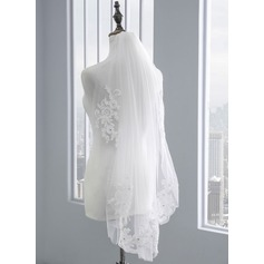 One-tier Lace Applique Edge Elbow Bridal Veils With Rhinestones/Lace