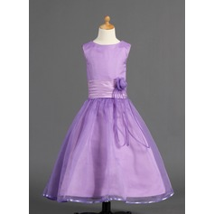 A-Line/Princess Ankle-length Flower Girl Dress - Organza/Charmeuse Sleeveless Scoop Neck With Flower(s) (010005910)