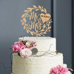 Personalized Wreath/Rustic Wood Cake Topper