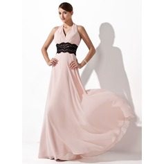 A-Line/Princess Halter Floor-Length Chiffon Evening Dress With Ruffle Lace Sash